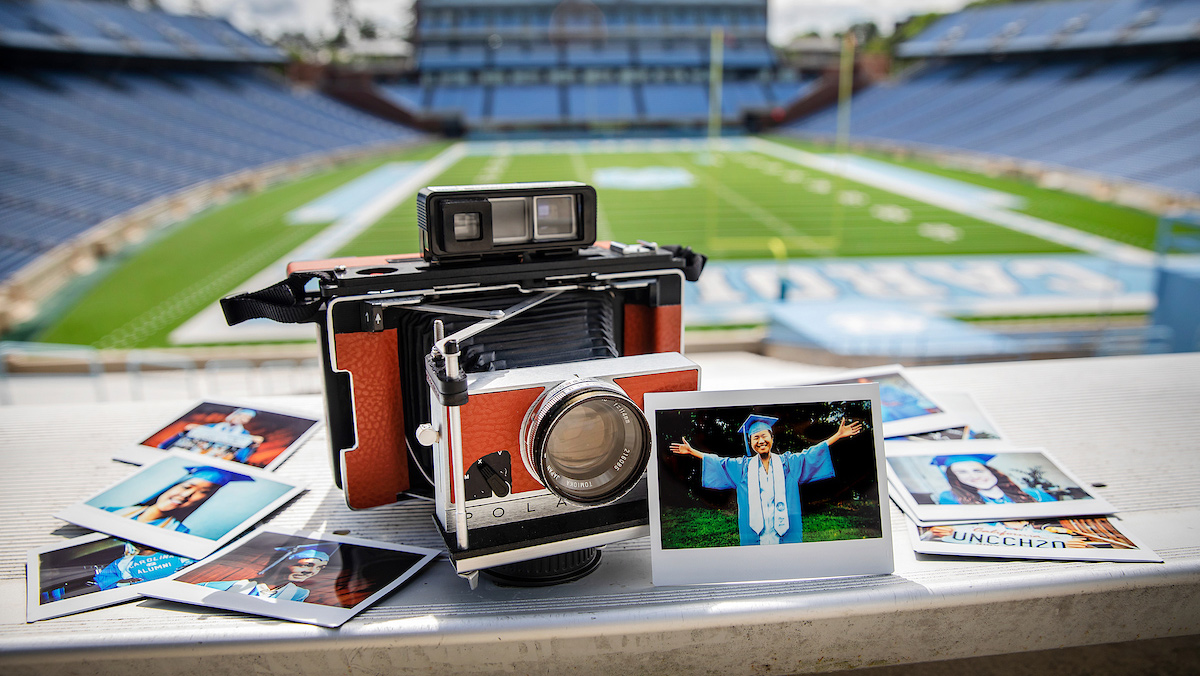 A Polaroid camera at Kenan Stadium.